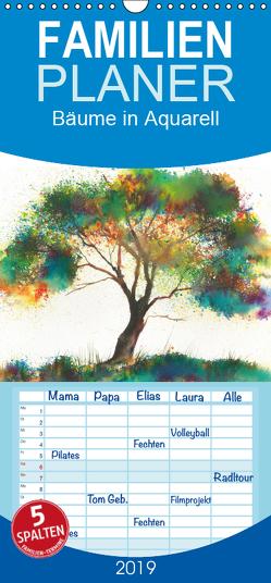 Bäume in Aquarell – Familienplaner hoch (Wandkalender 2019 , 21 cm x 45 cm, hoch) von Krause,  Jitka