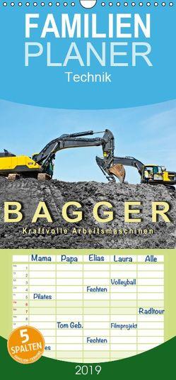 Bagger – kraftvolle Arbeitsmaschinen – Familienplaner hoch (Wandkalender 2019 , 21 cm x 45 cm, hoch) von Roder,  Peter