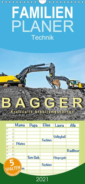 Bagger – kraftvolle Arbeitsmaschinen – Familienplaner hoch (Wandkalender 2021 , 21 cm x 45 cm, hoch) von Roder,  Peter