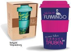 """Bamboo Becher to go """"Ich bin ein Flamingo…"""" 400 ml für Kaffee/Tee"""