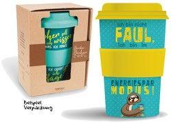 """Bamboo Becher to go """"Ich bin nicht FAUL …"""" Faultier 400 ml für Kaffee/Tee"""