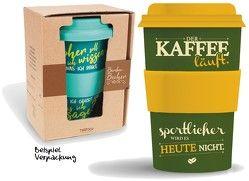 """Bamboo Becher to go """"… sportlicher wird es heute nicht"""" 400 ml für Kaffee/Tee"""