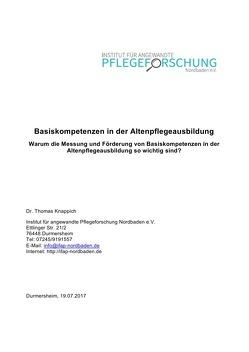 Basiskompetenzen in der Altenpflegeausbildung von Knappich,  Thomas