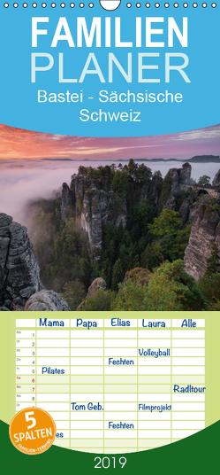 Bastei – Sächsische Schweiz – Familienplaner hoch (Wandkalender 2019 , 21 cm x 45 cm, hoch) von Buschardt,  Boris