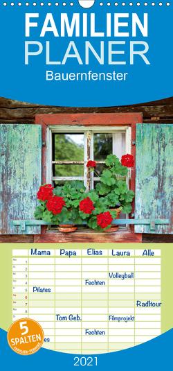Bauernfenster – Familienplaner hoch (Wandkalender 2021 , 21 cm x 45 cm, hoch) von Ehrentraut,  Dirk