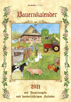 Bauernkalender 2021 – Bild-Kalender 24×34 cm – inkl. Bauernregeln – mit 100-jährigem Kalender – mit liebevollen Illustrationen – Wandkalender – Alpha Edition