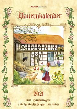 Bauernkalender 2021 – Bild-Kalender A3 (29,7×42 cm) – mit Bauernregeln und 100-jährigem Kalender – Wandkalender – mit Platz für Notizen – Alpha Edition