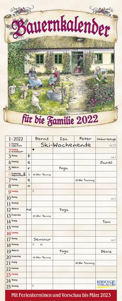 Bauernkalender 2022 von Korsch Verlag, Versley,  Christa