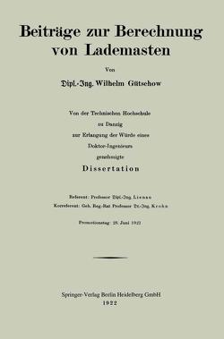 Beiträge zur Berechnung von Lademasten von Gütschow,  Wilhelm