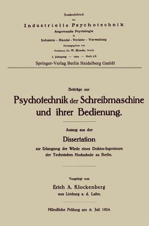 Beiträge zur Psychotechnik der Schreibmaschine und ihrer Bedienung von Klockenberg,  Erich Alexander