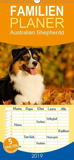 Bekannt wie ein bunter Hund. Australian Shepherd – Familienplaner hoch (Wandkalender 2019 , 21 cm x 45 cm, hoch) von Starick,  Sigrid