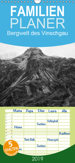Bergwelt des Vinschgau – Familienplaner hoch (Wandkalender 2019 , 21 cm x 45 cm, hoch) von Gräf,  Ulrich