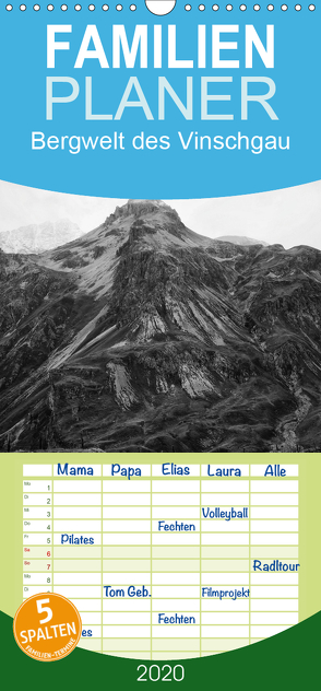 Bergwelt des Vinschgau – Familienplaner hoch (Wandkalender 2020 , 21 cm x 45 cm, hoch) von Gräf,  Ulrich