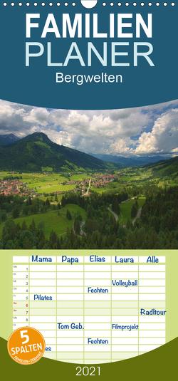 Bergwelten – Familienplaner hoch (Wandkalender 2021 , 21 cm x 45 cm, hoch) von Gierok,  Steffen