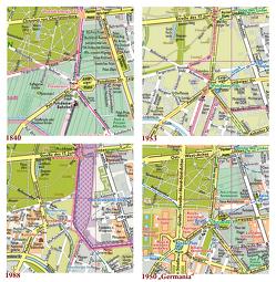 """Berlin, Vier Stadtpläne im Vergleich, Ergänzungspläne 1840, 1953, 1988, 1950″Germania"""" von Gauglitz,  Gerd"""