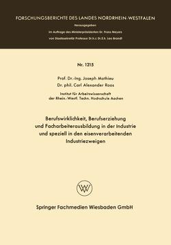 Berufswirklichkeit, Berufserziehung und Facharbeiterausbildung in der Industrie und speziell in den eisenverarbeitenden Industriezweigen von Mathieu,  Joseph