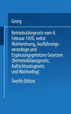 Betriebsrätegesetz von Flatow,  Georg