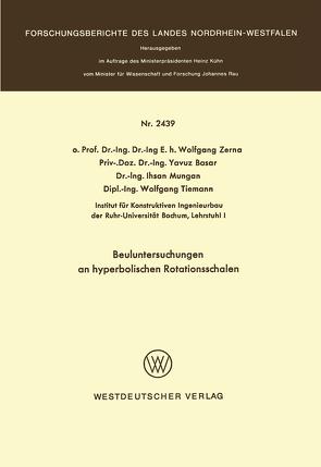 Beuluntersuchungen an hyperbolischen Rotationsschalen von Zerna,  Wolfgang