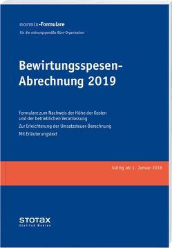 Bewirtungsspesen – Abrechnungen 2019, Formularblock