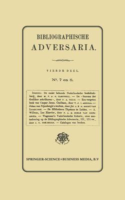 Bibliographische Adversaria von Nijhoff,  Martinus