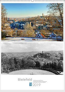Bielefelder Fotomotive heute und damals mit historischen Ereignissen (Wandkalender 2019 DIN A2 hoch) von Kloss,  Wolf
