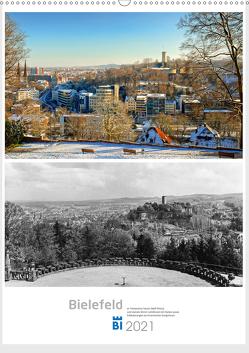 Bielefelder Fotomotive heute und damals mit historischen Ereignissen (Wandkalender 2021 DIN A2 hoch) von Kloss,  Wolf