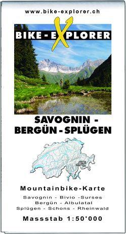 BIKE-EXPLORER Karte Savognin – Bergün – Splügen von Schierle,  Michelle