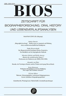 Bios 2/2013 von Dausien,  Bettina, Huinink,  Johannes, Leh,  Almut, Lehmann,  Albrecht