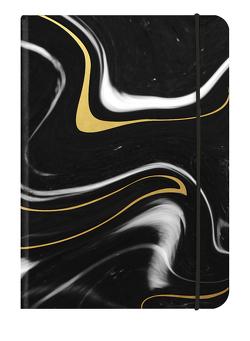 BLACK MARBLE – 12×17 cm – Blankbook – 240 blanko Seiten – Softcover – gebunden