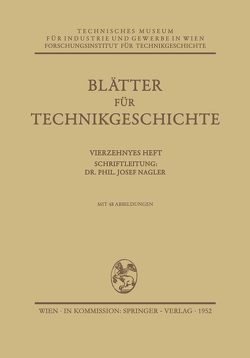 Blätter für Technikgeschichte von Nagler,  Josef