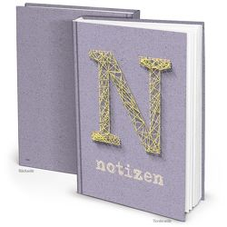 Blanko Notizbuch in Kork-Optik türkis mit gelb (Hardcover A4, Blankoseiten)