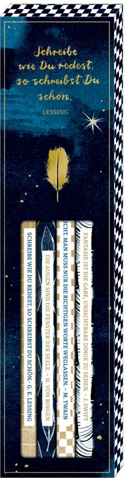 Bleistift-Set mit Sprüchen – BücherLiebe