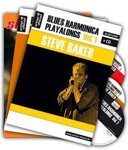 Blues Harmonica Playalongs Vol. 1-3 im Set, drei Bücher & drei CDs von Baker,  Steve