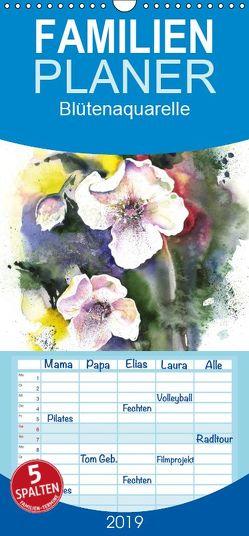 Blütenaquarelle – Familienplaner hoch (Wandkalender 2019 , 21 cm x 45 cm, hoch) von Krause,  Jitka