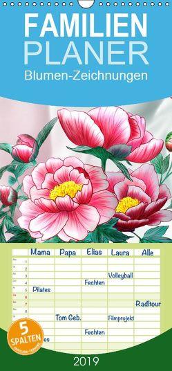 Blumen-Zeichnungen – Familienplaner hoch (Wandkalender 2019 <strong>21 cm x 45 cm</strong> hoch) von Djeric,  Dusanka