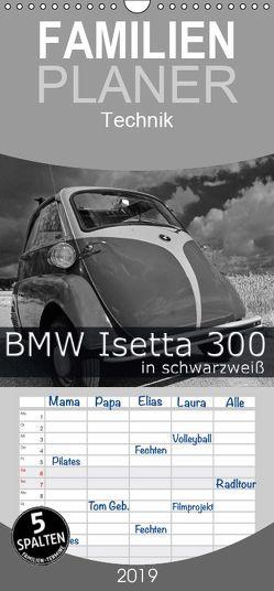 BMW Isetta 300 in schwarzweiß – Familienplaner hoch (Wandkalender 2019 , 21 cm x 45 cm, hoch) von Laue,  Ingo
