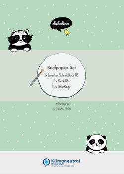 Briefpapier-Set für Kinder: Panda-Indianer