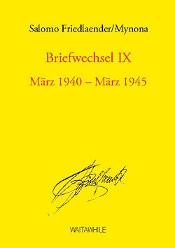 Briefwechsel IX von Friedlaender,  Salomo, Geerken,  Hartmut, Thiel,  Detlef