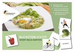 """""""Buchstäblich fit"""" Wort-Bild-Karten – Besser lesen und schreiben mit den Themen Ernährung und Bewegung von Bilo,  Annika, Daum,  Mareike"""