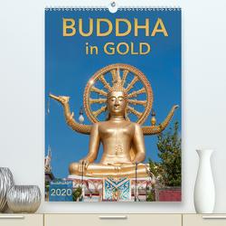 BUDDHA in GOLD (Premium, hochwertiger DIN A2 Wandkalender 2020, Kunstdruck in Hochglanz) von BuddhaART