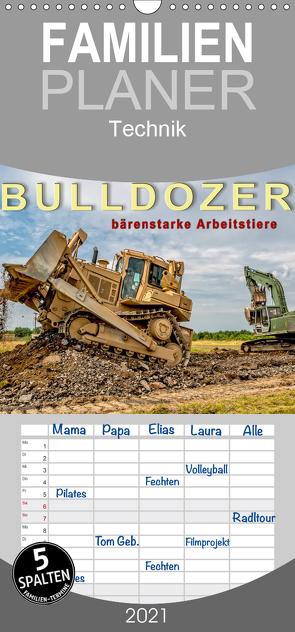 Bulldozer – bärenstarke Arbeitstiere – Familienplaner hoch (Wandkalender 2021 , 21 cm x 45 cm, hoch) von Roder,  Peter