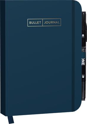 "Bullet Journal ""Deep Blue"" 05 mit original Tombow TwinTone Dual-Tip Marker 33 black"