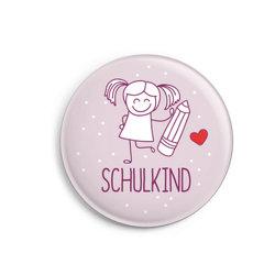 Button: Schulkind für Mädchen
