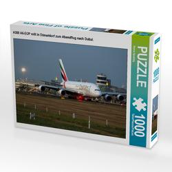CALVENDO Puzzle A380 A6-EOP rollt in Düsseldorf zum Abendflug nach Dubai. 1000 Teile Lege-Größe 64 x 48 cm Foto-Puzzle Bild von Rainer Spoddig