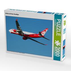 CALVENDO Puzzle Airline mit Herz Goodbye 2000 Teile Lege-Größe 90 x 67 cm Foto-Puzzle Bild von Rainer Spoddig