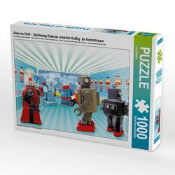 CALVENDO Puzzle Alles im Griff – Spielzeug-Roboter arbeiten fleißig im Kontollraum 1000 Teile Lege-Größe 64 x 48 cm Foto-Puzzle Bild von CALVENDO