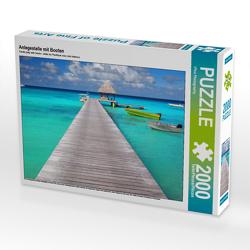 CALVENDO Puzzle Anlegestelle mit Booten 2000 Teile Lege-Größe 90 x 67 cm Foto-Puzzle Bild von iPics Photography