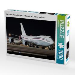 CALVENDO Puzzle B747-8 der Qatar Amiri Flight A7-HBJ nach der Landung aus Doha 1000 Teile Lege-Größe 64 x 48 cm Foto-Puzzle Bild von Rainer Spoddig
