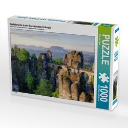 CALVENDO Puzzle Basteibrücke in der Sächsischen Schweiz 1000 Teile Lege-Größe 64 x 48 cm Foto-Puzzle Bild von Michael Valjak