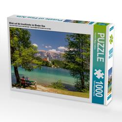 CALVENDO Puzzle Blick auf die Inselkirche im Bleder See 1000 Teile Lege-Größe 64 x 48 cm Foto-Puzzle Bild von Thorsten Wege / twfoto